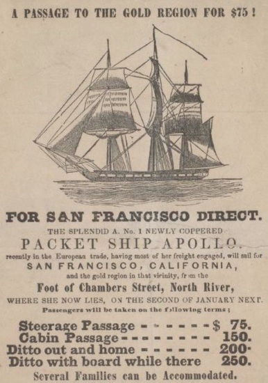 Poster advertising the California gold rush